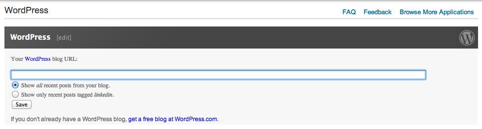 WordPress LinkedIn Application